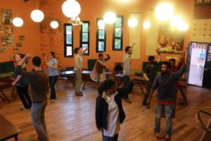Gokul teaching the NFLC class traditional Badaga dance