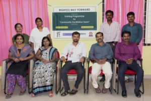 Archana and Ramachandran with the Hand in Hand India and Friends' Association for Social Service teams