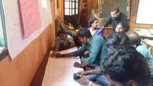 Participants working on a community map during the workshop