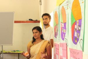 Thulasi and Sinan presenting their work on Diet Diversity to the community in Hubathalai