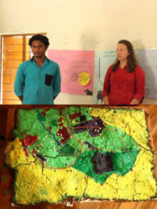 Subin and Rachel taking questions from community members on the research on Human-Gaur Interactions (above) Model showing gaur movement in orange and fences in white (below)
