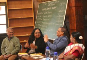 Pratim Roy, Madhavi Ravindranath, Dr Sreedher and Dr Thenmozhi at the meeting