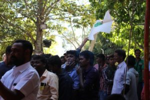 Crowds cheering for Janakiamma at the function
