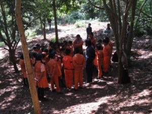 Students of Satyakaathi School at the Happy Valley habitat restoration project site.